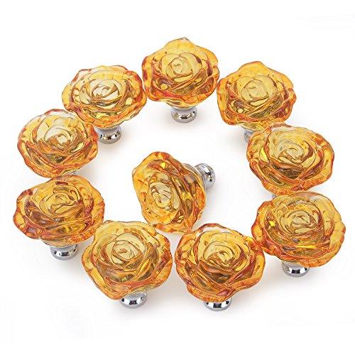 PUQU Möbelknöpfe, 50 mm, transparent, Kristallglas, 10 Stück, Dekoration für zuhause Orange - Transparent Glass Knob