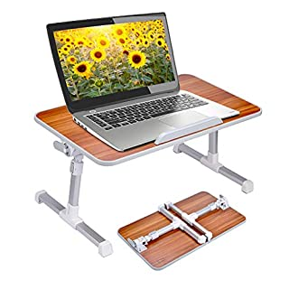 Neetto Adjustable Laptop Bed Table, Foldable Breakfast Tray, Portable Lap Standing Desk, Notebook Stand Reading Holder for Couch Sofa Floor Kids (Red) - Standard Size