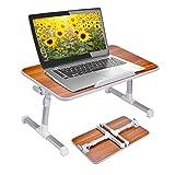 Neetto Table de lit réglable pour Ordinateur Portable, Table Pliable, Plateau de Petit déjeuner, Support de Lecture pour Le canapé au Sol - Cerise américaine