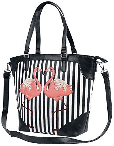 Banned Flamingos Handtasche schwarz/weiß/rosa