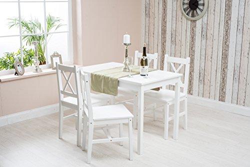 Holz Esszimmer Tisch Stühle (Kiefer massiv weiß Holz Esszimmer Set Tisch und 4Stühle)