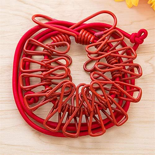 LoveOlvido Versenkbare Wäscheleine Elastische Wäscheleine Mit 12 Clips Socken Unterwäsche Kleiderbügel Winddicht Stretch Wäscheständer - Rot -