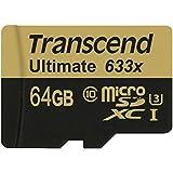 Transcend Carte mémoire microSDXC 64 Go Classe 10 UHS-I U3 633x avec adaptateur SD