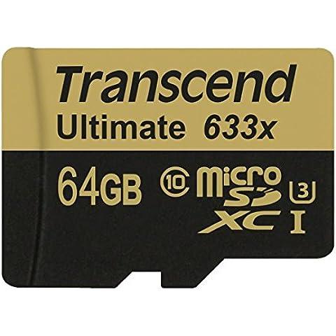 Transcend Ultimate 633x - Tarjeta de memoria de 64 GB (UHS-I, Clase 10, 95 MB/s, con adaptador)