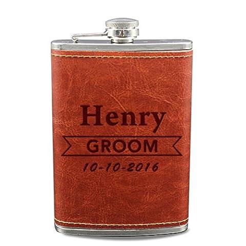 gravé Flasque pour Groom Flasque de mariage cadeaux Nom personnalisé Marron PU flacons cadeaux