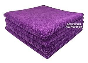 SOFTSPUN Microfiber Cloth - 4 pcs - 40x40 cms - 340 GSM Purple - Thick Lint & Streak-Free Multipurpose Cloths - Automotive Microfibre Towels for Car Bike Cleaning Polishing Washing & Detailing