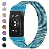 Vancle Armband Kompatibel für Fitbit Charge 3, Milanese Loop Edelstahl Verstellbare Ersatz Armbänder mit Magnetverschluss für Fitbit Charge 3 Damen (10 Ice Blue, L)