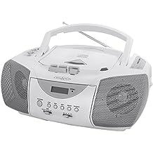 Irradio CDS198WS -Reproductor de CD con cassette compatible CD-R / RW (pantalla LCD, AM/FM, antena), color blanco