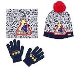 Feuerwehrmann Sam 3 tlg Set bestehend aus: Schal, Mütze und Handschuhe grau (54)