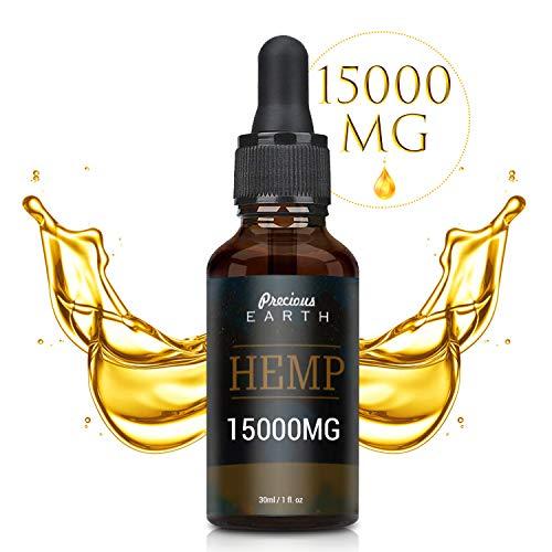 PRECIOUS EARTH Hanföl - Hochfeste, (50%) Premium Essential Öl, Natürliche Inhaltsstoffe, Made in USA(15000mg /30ml)