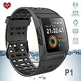 iKeeGan P1 GPS Laufuhr Fitness Armband mit 23 Sportmodi und Herzfrequenzmonitor (Schwarz-Grün)