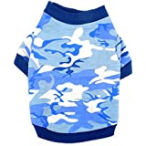 SMALLLEE_LUCKY_STORE Pet Clothes for Small Dog Cat 100% Cotton Camo Camouflage Print Shirt T-shirt Blue XS