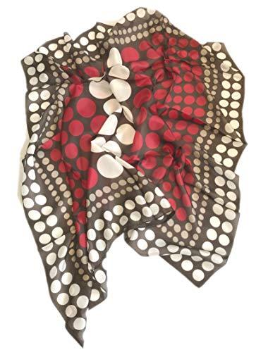 prettystern Damen 100 cm quadratisch Polka Dots Punkte gepunktet leicht 100% Seide Halstuch braun rot beige weiss P07 (Seiden-schals Polka Dots)