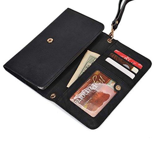 Kroo Pochette en cuir véritable pour téléphone portable pour SHUKAN A125/GSmart Mika M2 noir - noir noir - noir