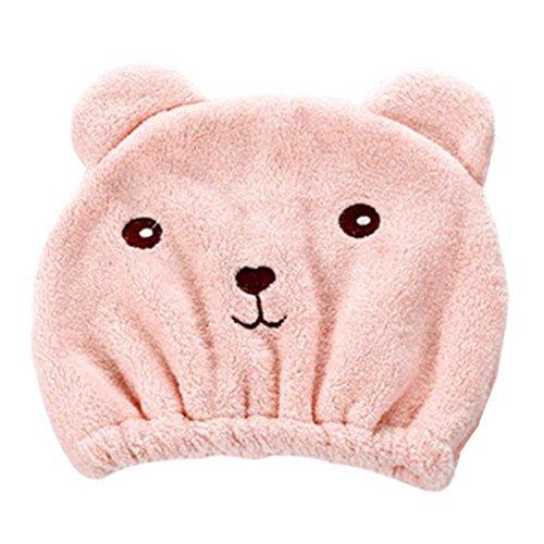 Rosennie Qualitäts Microfiber Hair Turban schnell trockenes Haar Hut gewickelt Handtuch Badekappe Trockenhauben Wasser schnell trocknende Duschhaube Badezimmer Handtuch Kopftuch saugfähigen (Pink)
