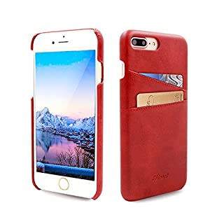 Airart iPhone 7 Plus Card Case, Premium Vintage Soft Leather Wallet Case, Ultra Slim Professional Executive Snap On Back Cover with 2 ID Credit Card Slots Holder for iPhone 7 Plus 5.5 Inch, Red