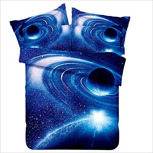 HOMIGOO Galaxy bedrucktes Bettwäsche-Set weich Tröster Cover 3D Gedruckt Bett Blatt Set Twin/Full, Polyester-Mischgewebe, Farbe E, Volle Größe (Tröster Set Blatt Full)