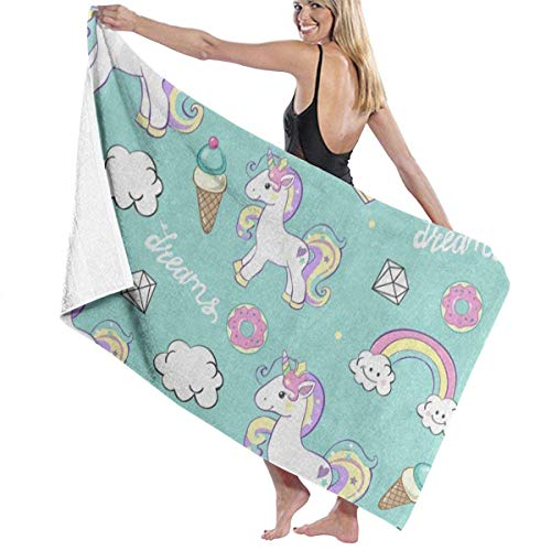 Serviette de bain, Beautiful Unicorn Ice Cream Donut Rainbow Personalized Custom Women Men Quick Dry Lightweight Beach & Bath Blanket Great for Beach Trips, Pool, Swimming and Camping 31