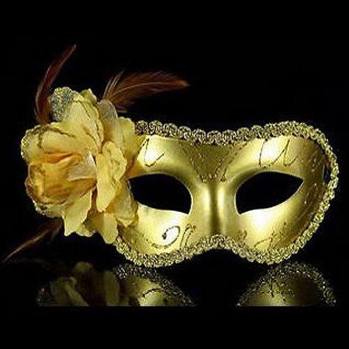 Maskerade Kostüm Ball - Gleader venezianischen Feder Abendkleid, Kostuem, Karneval-Maskerade-Partei-Ball-Maske (Gold)