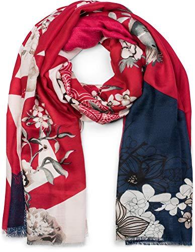 styleBREAKER Damen Schal mit Blumen, Vögel Ornament Muster und Fransen, Stola, Tuch 01017086, Farbe:Bordeaux-Dunkelblau -
