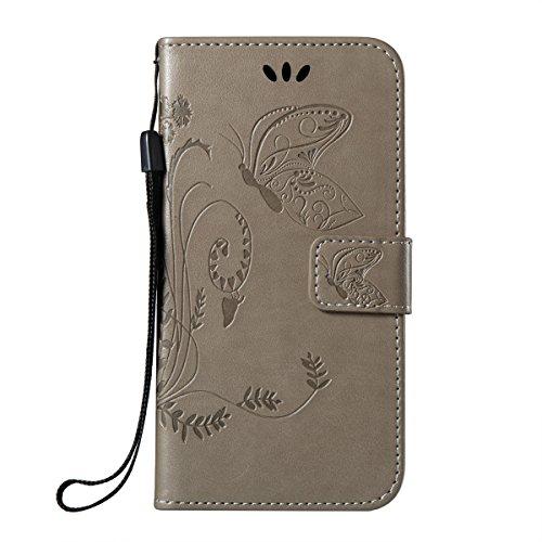 Étui en cuir pour iPhone X, iPhone X Coque, Lifetrut Fleurs et Papillons colorés en Relief Design Flip Folio Cuir Housse de Portefeuille pour iPhone X [Marine] E204-Gris