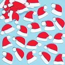 Lot de 100 autocollants chapeau du père Noël en feutre