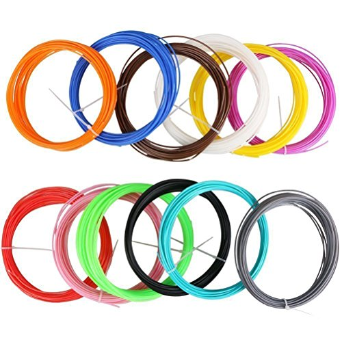 UEETEK 3D Recharges de Filaments 12 Couleurs – 10 mètres de chaque couleur – PLA 1,75mm (couleurs aléatoires)
