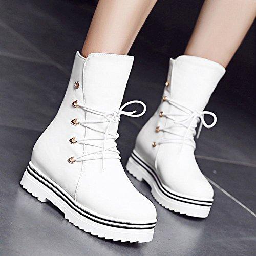 Mee Shoes Damen hidden heels halbschaft mit Schnürsenkel runde Stiefel Weiß