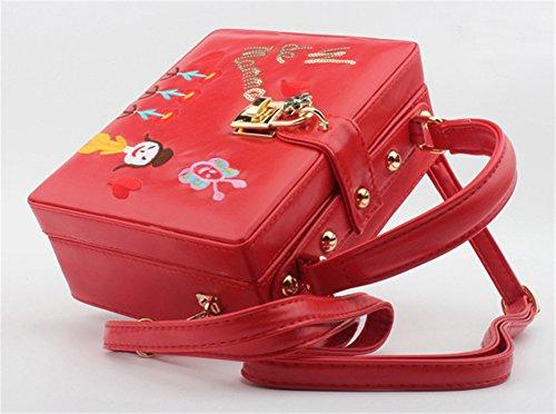 Good Night Pelle ricamo a mano la borsa da sera in rilievo Pochette Rosso