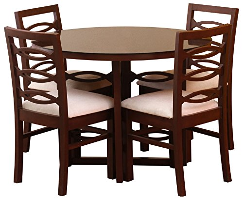 George and George GNG_D005 Four Seater Dining Table Set (Matte Finish, Brown)