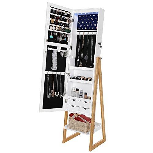 SONGMICS Schmuckschrank mit LED-Beleuchtung, abschließbarer und freistehender Schmuckorganizer, Ganzkörperspiegel, im Skandinavischen Stil, Beine aus Massivholz, weiß&kieferfarben, JBC72WN - 4