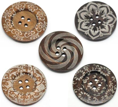 """The Bead and Button, 5, Design """"Boho"""" Holzknöpfe Katy Craig Damen-Creolen 60 mm Pullover 1of Handtaschen, Mäntel an jedem Design"""