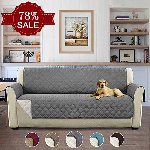 H.versailtex copridivano 3 posti impermeabile divano protector mobili coperture su due lati per cani / gatti letto con divano slipcovers 190 x 167cm, grigio
