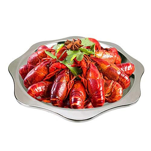 Bassin octogonal épaissi en acier inoxydable plat d'écrevisses assiette de homard créatif commercial plaque de fruits de mer pour 5 kg 32 cm