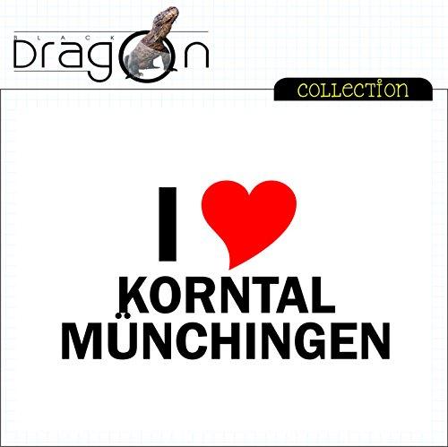 T-Shirt mit Städtenamen - i Love Korntal-Münchingen - Herren - unisex Weiß