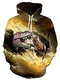 Leapparel Teenager Hip Hop Hoodie Galaxy Dinosaurier 3D Bedruckte Sweatshirt Kapuzenpullover Sport Sweatjacke XL Gelb