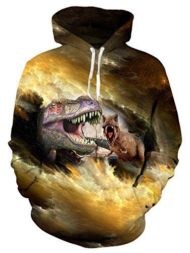 die Galaxy Dinosaurier All Over Print 3D Muster Hoody Sweatshirt Langarm Kapuzenjacke XXL (Dinosaurier Hoodie)