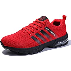 Sollomensi Sneakers Hommes Femmes Sport Running Chaussures De Course Gym Sport Sneakers Padel Respirant Casual EU 36 B Rouge
