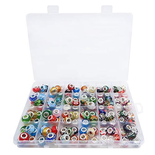 TOAOB 150 Stück Silber Glasperlen European Perlen Anhänger für Charms Schmuckherstellung Armbänder Halsketten
