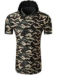 Mens T Shirts,Mens Shirts Short Sleeve,Mens Shirts,Mens Tops,Mens Shirts Casual,Mens Tops Summer,Men Shirt New Look,Moonuy Men Camouflage Print Hooded Handsome Pullover Blouse