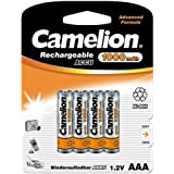 Camelion AAA Rechargeable Ni-MH Battery 1.2V 4Pcs Per Pack. Standard 1000mAh Battery (NH-AAA1000BP4)