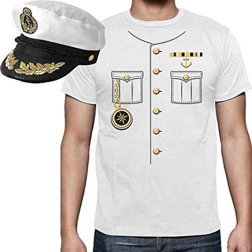 Kapitänsanzug Karneval Verkleidung - SET mit Herren T-Shirt und Kapitänsmütze Weiß