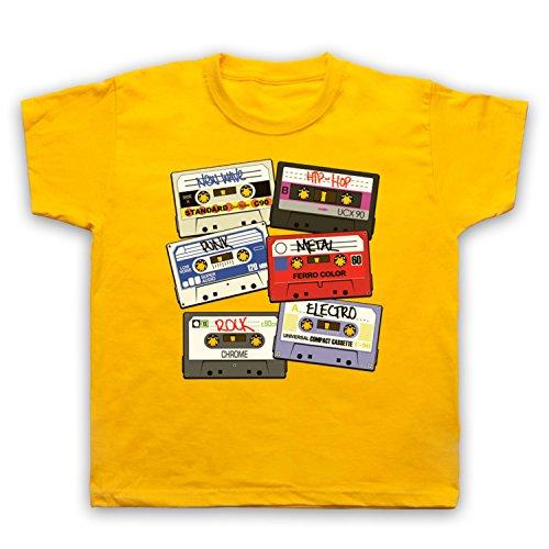 My Icon Art & Clothing Cassette Tapes Retro Mix Tape Camiseta para Niños, Amarillo, 2-3 Años