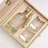 6-tlg Geschenk-Set in Holzkiste - 2 Gläser, 2 Untersetzer und Whisky-Karaffe in Geschenk-Box mit Gravur - Motiv eigenes Logo