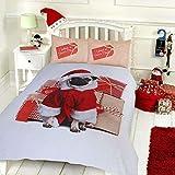 Pieridae - Set biancheria da letto con copripiumino e federe, stampa digitale di elevata qualità, motivo: carlino natalizio, Grey, Singolo