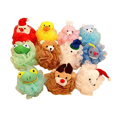 Gemini Fairy Niños juguete esponja de baño de malla de puf con el animal relleno (paquete de 4)