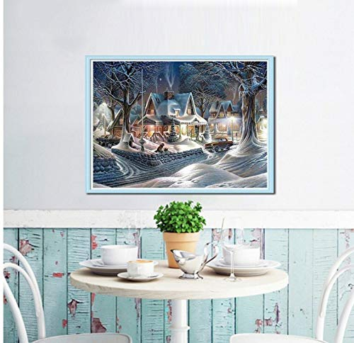 Diamond Painting Embroidery Cross-Studded Rhinestone Winter House Full Square Diamond Mosaic Landscape 5D Diy Decorative Home Rahmenlose 12x12 inch/30x40cm Winter Full House