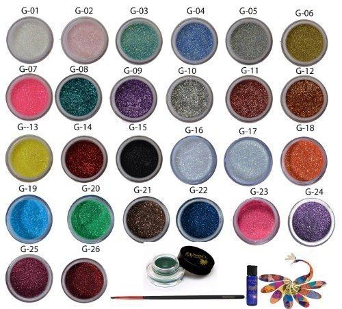 26 Itay Cosmétique Minéral Scintille + le Lien de Sparkel de Liquide d'Itay (la Colle de Scintillement) + Paquebot d'Oeil de Gel d'Itay -Vert + la Brosse de Paquebot d'Oeil