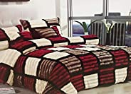 LUXE SOFT FAUX FUR 6 PC KING SIZE GEOMETRIC COMFORTER SET-RED