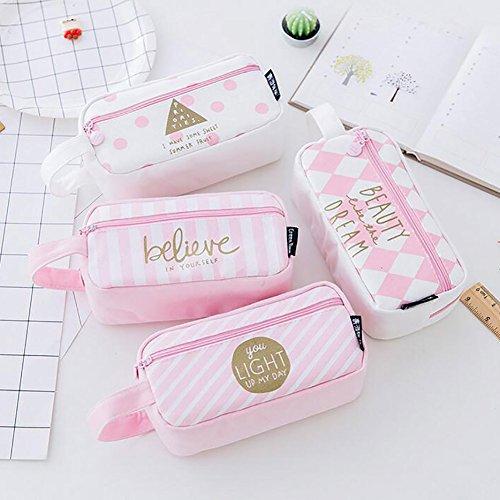 Tukistore 4 Stück Leinwand Stift Federmäppchen mit Reißverschluss große Kapazität Make-up Kosmetiktasche Tasche Make-up Tasche für Frauen, niedliche Augen Bleistift Beutel (Pink)